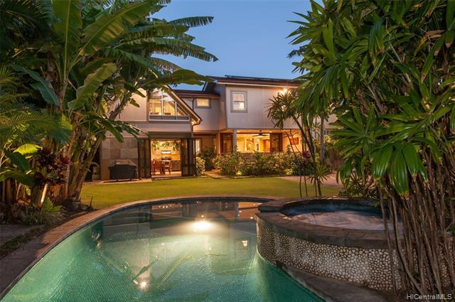 NEW LISTING!! Contemporary island style living at its finest.  Located on the highly coveted Aukai Avenue, this impeccably maintained 5 bdrm/5.5 bath classic Kahala estate includes a separate renovated studio cottage for family & guests.  On an over 11,000 sq ft gated lot with over 3,300 sq ft of exquisitely renovated interior living space, this executive residence features a state-of-the-art gourmet kitchen with stainless steel appliances, a spacious master suite with luxurious bath, an owned PV system (30 panels), a second fully equipped outdoor cooking area perfect to entertain guests lounging on the large covered patio or enjoying a dip in the pool/spa.  The beautifully landscaped backyard adds to the tropical resort feel and the spacio