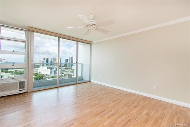 Enjoy expansive City and Ocean views everyday! Well kept and maintained, this 1 Bdrm/1Bath w/1 parking, high floor unit has been updated to include granite counter tops, crown moldings, newer tile and laminate flooring throughout, resurfaced ceiling, fresh paint and more. Convenient and centrally located near Punahou, Ala Moana Center & Beach Park, shopping, freeway entrance and bus lines. 24hr security, plenty of guest parking, resident mgr, fire sprinklered unit/bldg, secured bldg and parking garage, recreation room, and low maintenance fees.
