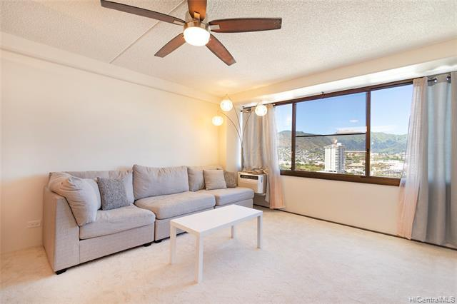 NEW LISTING! Enjoy stunning mountain views from this well-maintained 2 bdrm/2 bath unit with 1 covered parking at Marco Polo. Features include fresh interior paint, new luxury vinyl plank flooring and updated kitchen and bathrooms. Fantastic amenities include pool, basketball court, tennis courts, a netted driving range, BBQ area and more! Ideally located just minutes from UH Manoa, Waikiki, Ward Village, schools, shopping, restaurants and entertainment...you won't want to miss this opportunity!