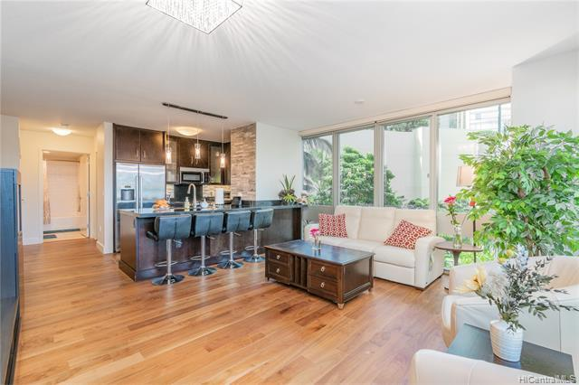 NEW LISTING! Beautifully maintained 2 bdrm/2 bath PLUS den corner unit in highly desirable Waihonua, centrally located in Kakaako between Downtown Honolulu and Waikiki. A unique floor plan with over 1,200 sq ft of interior living space, this unit features engineered hardwood floors, an open kitchen with Bosch stainless steel appliances, two large storage lockers, and 2 tandem covered parking stalls on the same floor as the unit! Enjoy resort-like amenities such as a fitness center, BBQ pavilions, private movie theater, pool/spa, guest suites, and more! Just minutes from Ala Moana Shopping Center, Ala Moana Beach Park, Ward Villages, Salt at Kakaako, restaurants and entertainment...hurry this won't last!