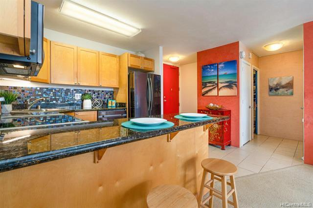 This spacious 1BR/1BA condo with a secured covered 1 parking stall offers an open floor plan and a large open lanai to enjoy the brilliant colors of city light views. Well maintained move-in condition, enjoy the upgraded kitchen appliances, the walk-in closet, and the convenience of the community laundry on each floor. Located on the preferred and cool side of building. Kaiolu Sunrise is pet-friendly, secured residential mid-rise paired with its reputation as one of the best low key condo bldg with short distances to the essential of the world's famous resort Waikiki location and a few steps away from the luxurious Ritz Carlton Waikiki. VA approved bldg.