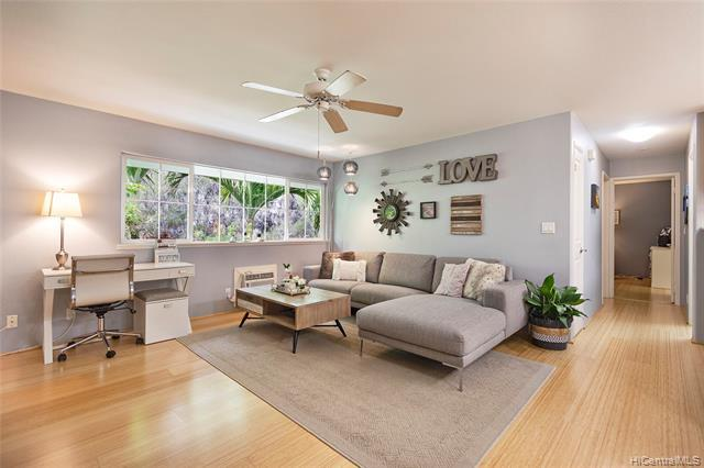 BRAND NEW LISTING in highly desired and RARELY AVAILABLE Lalea at Hawaii Kai! Move right into this UPGRADED 2 bed/2 bath/2 parking (1 car garage & 1 open stall) townhome features gorgeous bamboo hardwood floors, open kitchen with corian countertops and new backsplash, clean bathrooms with new luxury vinyl floors, air conditioning throughout & more! Lalea is one of the most sought-after townhome complexes in East Honolulu with super low maintenance fees, a warm neighborhood feel, & great amenities like a community pool, party room & BBQ areas throughout. LIVE THE GOOD LIFE in Hawaii Kai in an International Baccalaureate school district and close to Costco, restaurants, beaches, parks & hiking trails. HURRY, and see this one BEFORE IT'S TOO L