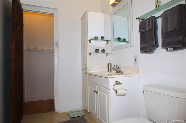 Built-in cabinetry is a welcomed feature in this well-planned bathroom.