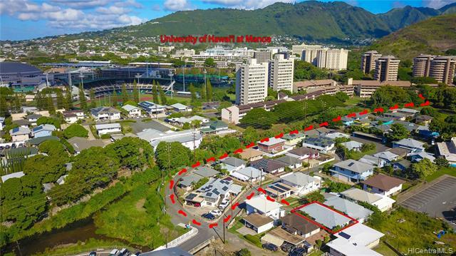 Never fight traffic going to UH .  Short walking distance to University of Manoa and beautiful Kanewai Park.