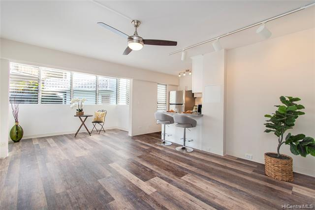 RARELY AVAILABLE and recently renovated 1 bed/1 bath corner unit at Diamond Head Plaza. Come see for yourself all the beautiful updates including luxury vinyl floors, new soft-close cabinets & drawers, quartz countertops, stainless steel appliances, resurfaced shower, lighting fixers, fans, and fresh paint. Enjoy cool breezes and lots of natural light! Unit comes with 1 covered parking stall (stall #17 - BEST stall in the building!) and is PET FRIENDLY. Enjoy the best of both worlds being conveniently located near boutique shops, Ars cafe, Diamond Head Grill, Cafe Morey's, Kapiolani Park, Honolulu Zoo, and Waikiki yet still tucked away in the private Pualei Circle community.