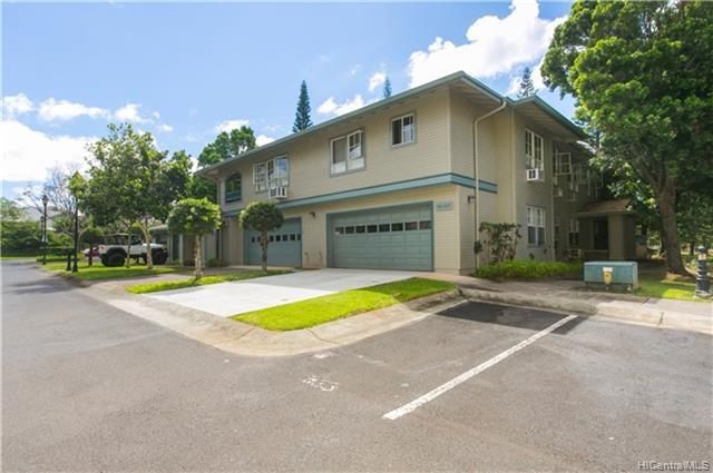 Windsor model has master bedroom and bath on first floor at the luxury Hampton Court townhouse complex in Mililani Mauka  This end unit features lots of natural light , high vaulted ceilings , electric  fireplace and laminate  floors. Maple cabinets, window  AC, 2 walk-in closets,  just a few details to love include a roomy  veranda on the second level . This corner  unit   has two car garage and a great location in the complex with just enough privacy  no neighbors in back of you.  Guest parking just  short walk and very close to Mililani pool.  With an on-property Club House, and lighted walking path nearby. Private showings only - No Open House. Call for a Showing two-day notice required, currently tenant occupied.