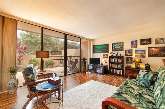"""Rarely available, single-level 2/2 ground floor, corner end-unit w/a large, landscaped double-wide gated 400sq ft patio. Unit is directly fronting the 2 COVERED parking stalls & bank of guest stalls.  Beautifully renovated with taste & style!  Resort style living that screams """"Hawaii""""... Complex includes 3 swimming pools, tennis courts, hot tubs, walking/jogging paths, huge grass fields & views of K-Bay. This unit has a peek-a-boo ocean view, due to foliage.  Pet friendly & well managed Assoc makes this one of Kaneohe's premier properties!  Windward Mall, K-Bay shopping center (w/Safeway, Longs & Walgreen) within walking distance."""