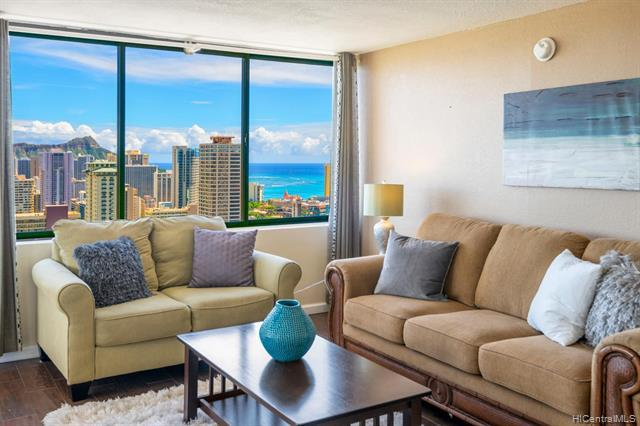 SHORT TERM / DAILY RENTALS ALLOWED! This great Waikiki vacation friendly condo-hotel 2BR/2BA Penthouse suite offers an incredible sweeping panoramic bird's view of the gorgeous lush mountain range, the brilliant colors of city lights, Ala Wai canal, golf course, Diamond Head, coastline and the pacific ocean. Upgraded condition & situated on the desirable corner end w/ an efficient and spacious floor plan. This high income producing vacation rental condo is sold fully furnished. Hawaiian Monarch is great & one of a few condo-hotel building located near the entrance of Waikiki, it features an opened air lobby w/ resort amenities such as pool, fitness center, outdoor seating deck, a convenient store, cafe, popular eateries & many more enjoyabl