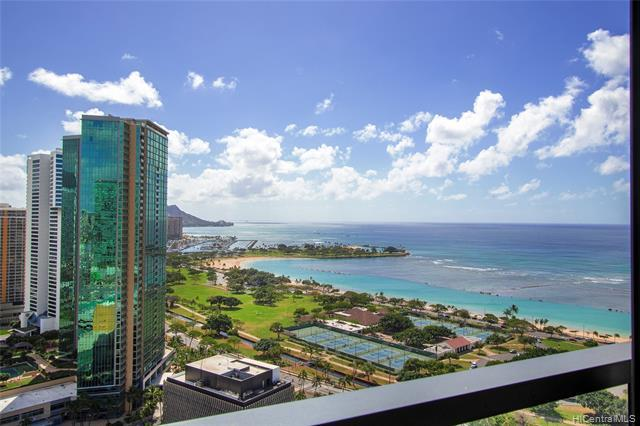A MUST SEE! Anaha is one of Honolulu's most sophisticated and luxurious high rise condos located in the heart of the award-winning master-planned Ward Village. This exclusive high floor 2 bed/2 bath with 9-ft ceiling unit offers breathtaking ocean and Diamond Head views!! Other features include Miele appliances, floor to ceiling windows and is within walking distance of Ala Moana Beach, Ala Moana Shopping Center and premier restaurants. This unit features an extra-large storage room and 2 covered side by side parking stalls with EV Charger. Relax in the resort-like amenities including a stunning Infinity Edge Pool, BBQ Cabanas, Whirlpool, State-of-the-Art Fitness Center, Tennis Court, Theater, Golf Simulator Room, Private Dining Rooms and m