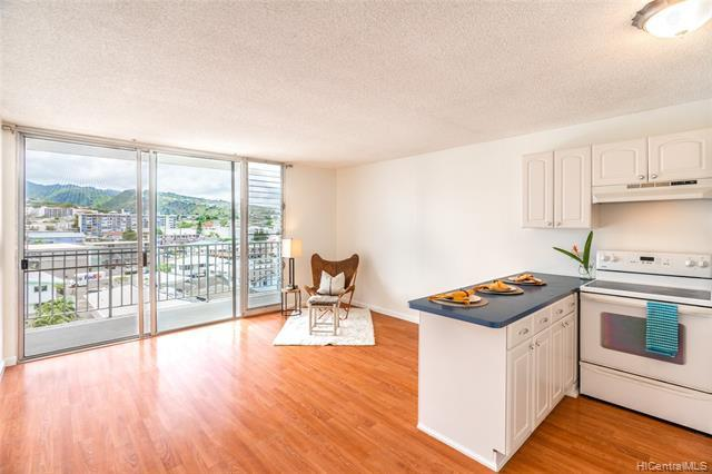 New Listing! Extra windows bring cool cross breezes into this bright corner unit. Enjoy beautifully maintained spacious room and lanai with peaceful mountain views.  This unit features an open kitchen, durable Wilsonart laminate flooring, and washer/dryer in the unit. Conveniently located near grocery/pharmacies and restaurants on Kapahulu, Ala Wai Golf Course, UH, Waikiki Beach and Kapiolani Park. The building features secured entry and secured pkg, additional guest pkg, resident manager and pool.  Electricity is included in the reasonable maintenance fee. PET FRIENDLY!!