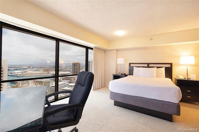 Great opportunity!  Don't miss this nicely maintained, FEE SIMPLE 1bdrm/1bath/1pkg unit located in the heart of Downtown Honolulu!  This high floor unit features floor to ceiling windows which highlight fantastic city, ocean, and mountain views.  Walking distance to restaurants, entertainment, and bus lines.  A MUST SEE!