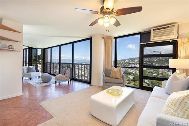 """Enjoy unobstructed, panoramic city and mountain views from this beautifully maintained 2 bdrm, 2 bath unit with 2 covered parking in the highly desired """"05"""" stack in Craigside Tower 1. Located in the lush and serene Nuuanu Valley close to Downtown Honolulu and minutes away from H-1 and Pali Highway. Features include a remodeled open kitchen, built-in cabinets and an enclosed lanai for added square footage. ADA accessible and compliant. Building offers resort-style amenities including two pools, outdoor rec area, gym, sauna, tennis courts, and more! Must see to appreciate! This won't last!!!"""