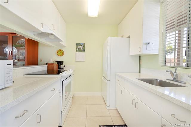 Meticulously renovated & MOVE IN condition, this 2bed/2bath DESIRED UPSTAIRS unit was renovated in 2018 w/NEW bamboo laminate flooring, NEW carpet, NEW kitchen cabinets/counter, NEW paint, NEW shower, NEW appliances, NEW fixtures, NEW AC w/dedicated line, NEW baseboards, NEW blinds, NEW washer/dryer. Conveniently located near Costco, freeway access, Waikele & more! Very BREEZY unit w/lanai. Dedicated parking stall is located near unit & guest parking is nearby too!