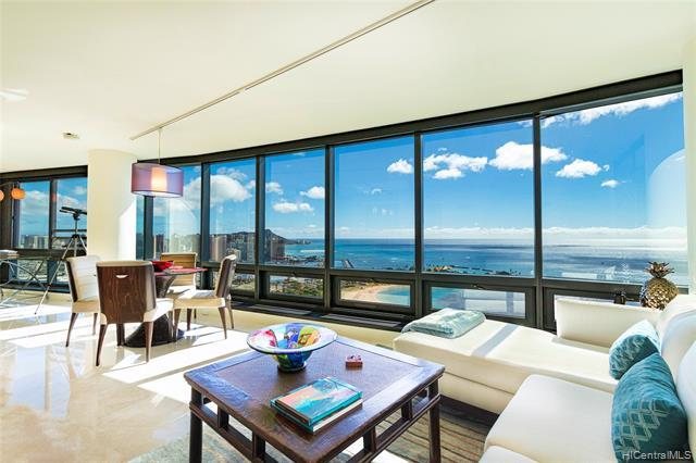 Rare find! Most PREFERRED 05 stack. Breathtaking UNOBSTRUCTED panoramic Diamond Head, ocean, coastline, and sunset views await you from this exquisitely remodeled and immaculately maintained 2 bdrm/2 bath/2 parking HIGH FLOOR unit in Nauru Tower. This one-of-a-kind floor plan offers 1,300 sq ft of interior living space with marble and engineered hardwood floors, motorized window shades, reconfigured open foyer, gourmet kitchen with stainless steel Bosch and Sub-Zero appliances, custom cabinets, and granite counter tops. Ideally located in Kakaako and just steps from Ala Moana Beach Park, Magic Island, Ward Village and Ala Moana Center w/ endless choices of restaurants, shopping and entertainment!  Custom redesign means you won't see another