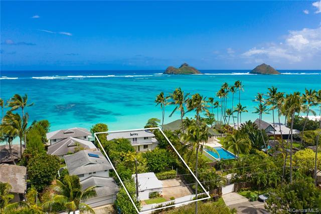 Island living at its FINEST! Enjoy breathtaking panoramic ocean views from this beautifully maintained 4 bdrm/3 bath OCEANFRONT residence with a separate BONUS cottage located in HIGHLY coveted Lanikai.  Step into your very own private tropical retreat situated on an over 13,000 sq ft lot.  The main residence features fresh interior and exterior paint, new vinyl flooring, vaulted ceilings and picture windows from the living area looking out to stunning unobstructed views of the ocean and the iconic Mokulua Islands.  An expansive upstairs master bedroom suite boasts its own privacy lanai.  The cottage is perfect extended family living or a guest quarters!  Kayak and stand-up paddle board right from your backyard or just relax in your exclusi