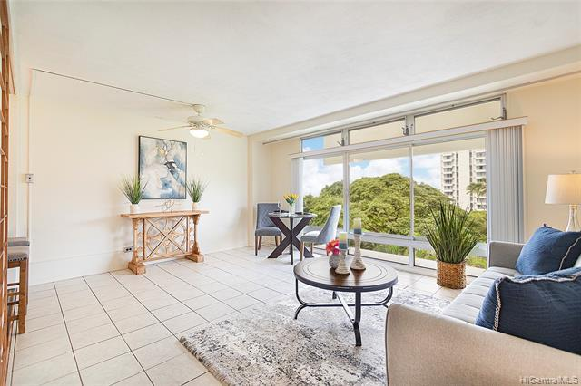 Great value for this 1Bed1Bath condo in a secure building with 1 covered parking. Located on the quieter side of the building with lush garden and tree top view. Enjoy all the amenities that Queen Emma Gardens has to offer - recently renovated tea houses to entertain your guests, swimming pool, koi pond, jogging path, BBQ.  Pet Friendly (buyer to verify) and VA approved building. Ample guest parking and 24 hour Security.