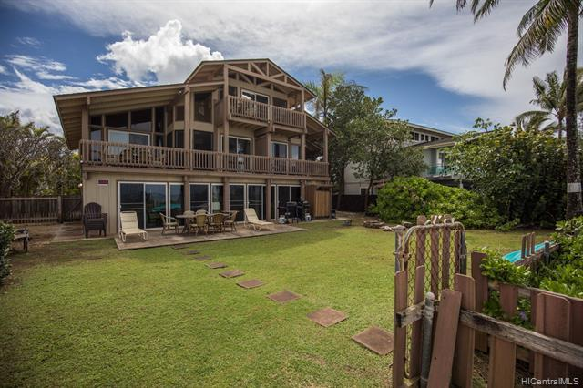 Rarely available opportunity to own a large oceanfront duplex with an additional 1200 sq ft Rec Room below. This Duplex is in a quiet, well maintained neighborhood. The flexible layout is just one of the many benefits of this expansive property that makes this a great investment. Take your kayak or stand up paddle for a ride, hop on your bike to historic Haleiwa town for a bite to eat, or take a long walk on the sandy beachfront just steps from your back door.