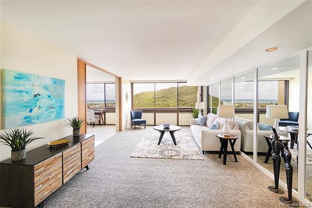 NEW LISTING! Enjoy ocean, marina and mountain views from this beautifully maintained 2 bdrm/2 bath condo with 2 side by side covered pkg at the Mauna Luan in Hawaii Kai. With 1,303 interior sq. ft., this HIGH FLOOR unit features a spacious open floor plan, an updated kitchen with black stainless steel appliances, renovated bathrooms, fresh interior paint, and extra storage located in the basement. Experience the resort-like amenities including 2 swimming pools, fitness center, BBQ areas, racquetball/handball court and more. Conveniently located just minutes from parks, beaches, shopping and entertainment. Don't miss this opportunity!