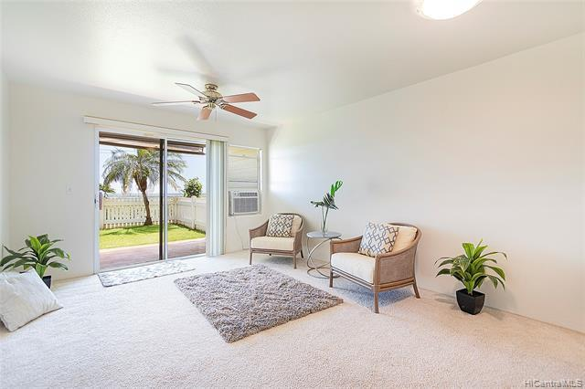Welcome home to this rarely available ground floor unit at Viewpointe at Waikele with fantastic views all the way to Diamond Head. Enjoy the extra yard space and privacy of the end unit while you watch the sun rise over the slopes of one of the worlds most famous mountains. Great for entertaining with lots of guest parking.