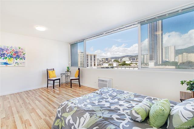 NEW LISTING! Charming, upgraded studio with 1 garaged parking in the heart of Honolulu! This bright-and-airy, move-in ready unit is fully renovated and is on the cooler side of Kapiolani Terrace. Enjoy the tradewinds and sweeping city, mountain views from the oversized window. Upgrades include fresh paint, laminate floors, custom cabinets, added closet space in living area, granite countertops, renovated bathroom, newer window AC unit and much more! Well-managed, secured building with a laundry and trash chute on each floor. Unbeatable, walkable, central location in the fast-growing Ala Moana/Keeaumoku area near great restaurants, shops, supermarket, mall, Target. Tremendous value that's perfect for first-time buyers or investors!