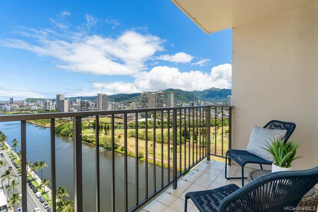 Rare and desirable corner-end, this 1bdrm/1bath/1prkg located on the high floor offers great views of Ala Wai canal, golf course, mountain, partial ocean and the brilliant colors of city lights. Move-in condition or a great opportunity to upgrade/renovate. An efficient floor plan with a spacious open lanai that is accessible from living and bedroom. Features washer/dryer and window ACs for the comforts of condo living. Fairway Villa is a secured residential high-rise paired with its reputation as one of the best low key condo bldg with short distances to the essential of the world's famous resort Waikiki location. Maint. fee includes cable TV, (hot) water, & sewer utilities. VA approved bldg.