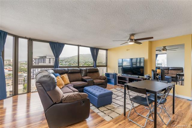Rarely available remodeled 2bdrm, 2 bath unit at King's Gate which is conveniently located minutes from the University of Hawaii at Manoa with lots of great places to eat and shop. Come home and enjoy tremendous city views from every room.