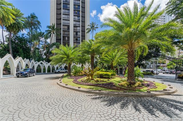 NEW LISTING! Enjoy beautiful city and mountain views from this nicely upgraded studio unit in Liliuokalani Gardens at Waikiki.  This unit features an open floor plan with luxury vinyl plank flooring throughout.  Enjoy amazing amenities such as a tennis court, swimming pool and whirlpool spa, BBQ area, serene gardens and more! Conveniently located in Waikiki just steps from the beach, shopping, and restaurants.  Just minutes from Ala Moana Shopping Center, Kakaako and Downtown Honolulu.  Must see to appreciate!