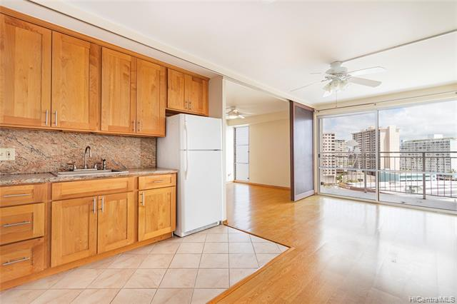 Great opportunity to own this conveniently located unit across from Ala Moana Center and Don Quijote and walking distance to beaches, restaurants, shops, Palama Market, Convention Center, Waikiki & Kakaako! Features wood laminate & ceramic tile floors, granite counters & wood cabinets in kitchen & bathroom, community laundry on same floor, secured entry to parking garage/building with 2nd floor covered parking (close to building elevators) and storage locker! Relax on your lanai and enjoy expansive city & mountain views!
