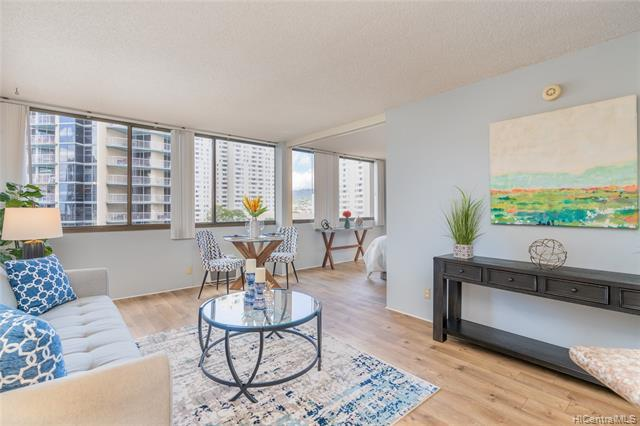 NEW LISTING!!!  Enjoy the best of urban living in Downtown Honolulu, close to restaurants, shopping & entertainment! This well-maintained 1 bdrm/1 bath Ewa Tower unit in Kukui Plaza features vinyl laminate flooring, updated kitchen and an open floor plan.  Enjoy amazing amenities including a tranquil private garden deck, walking path, heated pool, & 24 hr security. A must see!