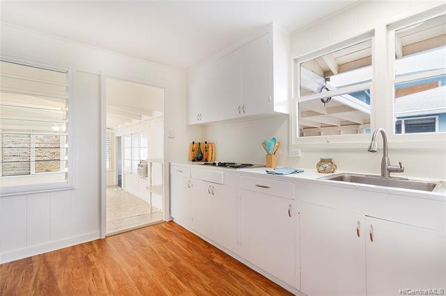 Ample cabinet and counter space.