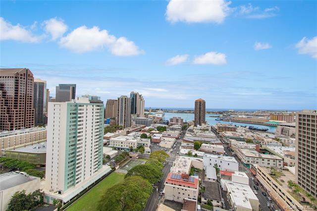 Conveniently located 2 bed / 2 bath condo with great ocean and city views! Lots of storage, full size washer/dryer inside unit, and a covered secured parking. Honolulu Tower is a secured building with 24-hour security, guest parking, and great amenities (pool, BBQ, rec area, library, and jacuzzi. Located in the heart of Honolulu with amazing sights, sounds and flavors. Walk to downtown, Chinatown, art galleries, Hawaii Theater, restaurants/bars, shops and much more!
