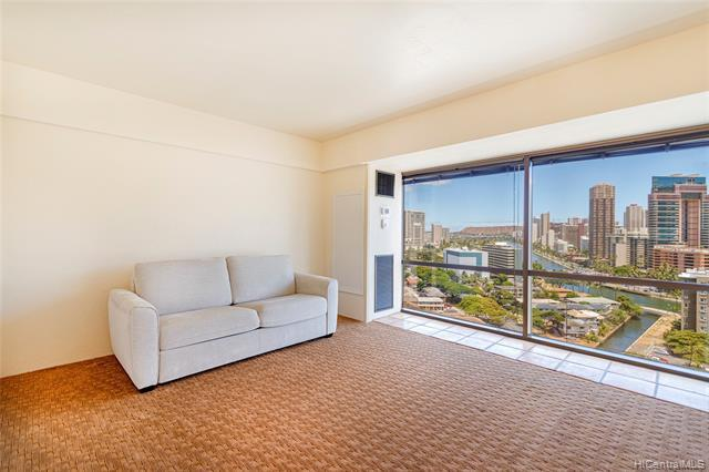 STUNNING VIEWS from this ULTRA CLEAN studio in URBAN Honolulu! Upgrades include: NO ASBESTOS  ceiling, NEW carpet, NEW AC handler & NEW valves, Mexican TILE, END unit. Conveniently located near Ala Moana Shopping Center, Waikiki, Convention Center, Bus line, Shops and Restaurants! Lots of guest parking, covered, dedicated parking stall, $49 cable/internet fee & electric sub-meter.  THIS IS IT – easy to show!!!