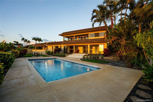 You'll appreciate the RARE COMBINATION of breathtaking panoramic ocean/Diamond Head/Maunalua Bay views, large usable yard w/pool, beautifully upgraded & impeccably maintained interior finishes, & the perfect in-laws quarters offered by this executive style residence in Koko Kai. With almost 6,000 sq ft of interior living space on an expansive 16,700 sq ft lot, this 4 bdrm/3 bath + 2 half bath home includes an office that can easily be converted into the 4th bdrm & features a newly renovated open kitchen w/Thermador stainless steel appliances, engineered hardwood floors, an oversized family room w/vaulted ceilings, & 62 owned PV panels w/net metering agreement. Perfect for indoor/outdoor entertaining, this home flows effortlessly from the ki