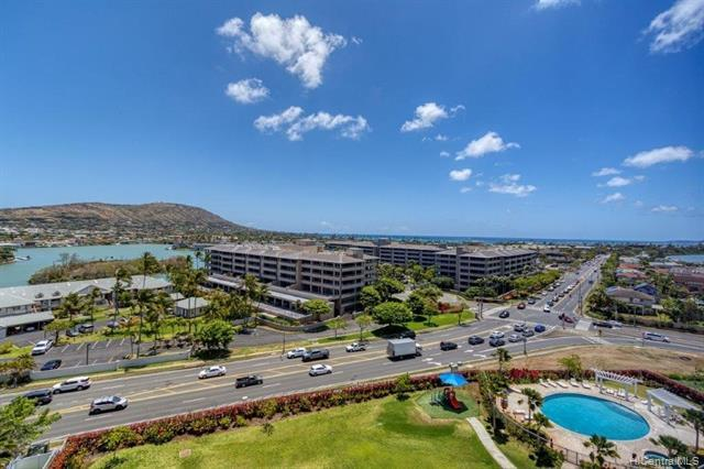 Premier 2-bedroom unit with Amazing Marina-to-Ocean Views. A true 2-bedroom top-floor unit in one of Hawaii Kai's newest buildings. Excellent amenities, pet friendly, and lots of yardspace. Low maintenance fees and an extra-wide parking stall. An absolute must see! (Matching storage room just outside the unit for sale and sold separately.)
