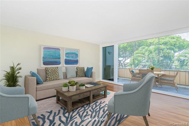 Super rare! One of the most desirable split level 2 bdrm/2 ba floorplans in Pualei Circle. This is the unit you have been waiting for! Nestled at the base of Diamond Head, walk to Kapiolani Park, beach, surf, or grab a bite at one of many nearby eateries. This unit features a brand new kitchen & appliances, newer split AC's throughout to keep you cool on Kona days, newer floor to ceiling stacking glass doors that slide open to a huge screened in lanai, newer vinyl framed windows in bedrooms bring in plenty of natural light and keep things quiet when you want to sleep in, and washer/dryer in unit. Bonus feature is a beautifully crafted custom surf rack! Relax and enjoy Hawaii in this wonderful island getaway.  Photos have been virtually stag