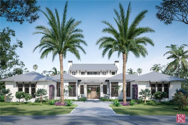 Pre-construction rendering of a Pelican Bay Home by Southpoint builders on a quiet cul-de-sac street