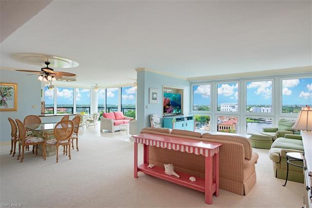Located in prestigious Park Shore, this 9th floor 3 bedroom/3 bath condo features unobstructed breat
