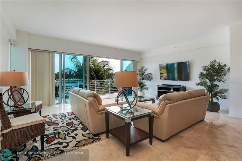 Luxury 3 bed/3.5 bath fully furnished waterfront corner unit with NE exposure & wide water views on Las Olas Isles. Private Elevator opens up to an entry foyer leading to a spacious living area overlooking the canal. Unit features marble floors throughout living areas, over-sized wrap-around balcony off living area & master bedroom, lrg private balconies off both guest bedrooms, flow thru floor plan and floor to ceiling doors throughout. Open concept kitchen w/granite counter-tops, wood cabinets, Miele appliances & Sub Zero fridge. 14 unit boutique building w/secured covered parking, waterfront pool & spa, poolside cabanas & BBQ area. 1 mile to the beach and short walk or scooter ride to Las Olas shops & restaurants! Annual rental available