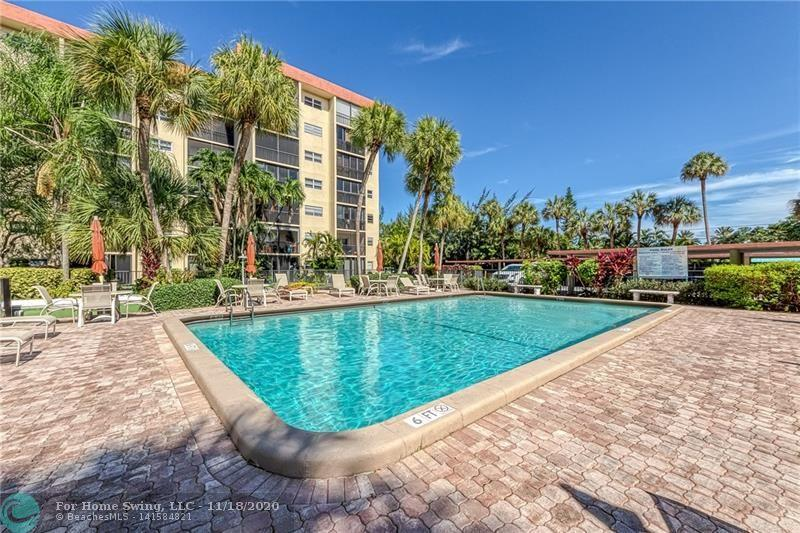 GREAT LOCATION! Garden Air Village South 2/2 condo East of US1 in Pompano Beach! Enjoy this pool and garden view from your second floor screened balcony. Split floor plan, tile floors through out, walk-in closets, updated bathrooms, extra storage unit, and much more. The building offers secure lobby, heated pool, sauna, clubhouse, all for the very low maintenance fee of $284/mo. 1 assigned parking space. Rent a second space from another owner or from the church across the street. 2 laundry rooms on every floor. Leasing allowed after first year of ownership. All ages welcome. Did I mention great location?! Walk to shops and golf. Less than 1 mile to beach. FLL airport just 20 minutes away. No pets. PRICED TO SELL. Low maintenance fees.