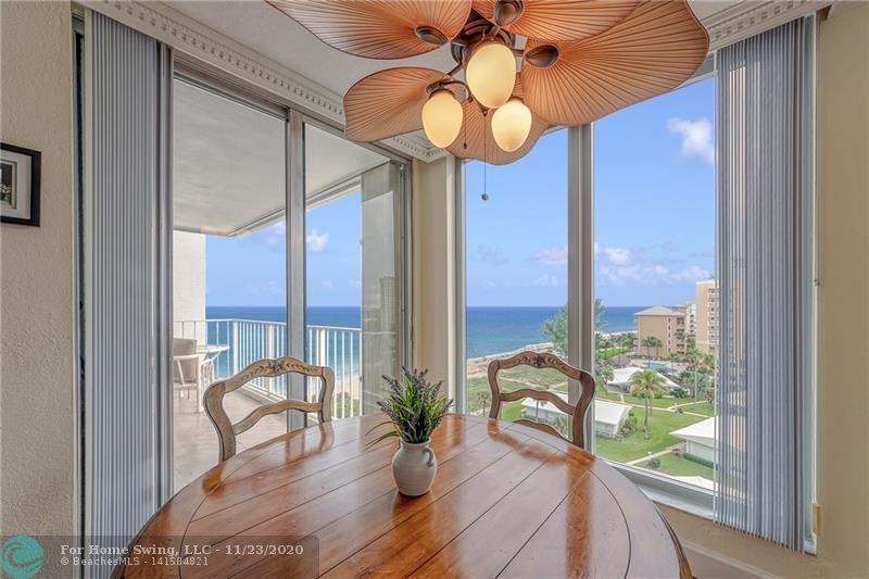 WOW! RARELY available SOUTH facing 2 BR/2 Bath condo in the POMPANO AEGEAN with Spectacular OCEAN Views. This 1650 SF unit has been completely renovated and includes a Den which can be used as a third bedroom.  WASHER and DRYER in unit! This building is located on a WIDE section of SANDY BEACH just south of the POMPANO PIER! Building includes all the amenities: Pool, Spa, Beach Access, Ping-pong, Fitness Center, Recreation Room, Library and more! Must see to appreciate - will not last!