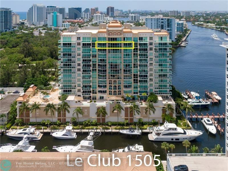Sub-penthouse with spectacular views of the Intracoastal Waterway, Ocean, Birch State Park, and Coral Ridge Yacht Club. Two master suites, private elevator, floor to ceiling high impact windows, multiple walk-in closets, (2) garage parking spaces, large storage room, laundry room with full size Samsung washer and dryer, and beautiful marble floors (except bedrooms). Gourmet kitchen with granite counters, wood cabinetry, and SS appliances. His/Her master bathroom suites with bidet, Jacuzzi whirlpool tub and large frameless glass shower enclosure.  Le Club Residents' 4th floor feature a pool, whirlpool spa, cabanas, state of art exercise room with men's and women's facilities, spacious party/social room overlooking the private marina. A 60' B