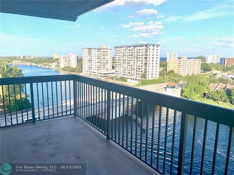 Make this your next home with Unobstructed panoramic Ocean & Intracoastal views from this NE 10th Floor corner Penthouse condo with 2 balconies/1 Private. 3/2.5 newly renovated 2 master suites with new A/C, washer/dryer, carpet in bedrooms, custom doors and closets, remodeled bathrooms with handicap walk-in tub in the 2nd master. Updated kitchen, engineered wood floors, impact windows. This building has fire sprinkler system! Most sought after building on the West side of the Intracoastal so no waiting on the bridge. 24/7 security, magnificent resort style heated pool located on water's edge, garage parking. Located 2 short blocks to the beach, restaurants, shopping, boat ramp next door, golf, just 25 minutes to FLL airport. PET FRIENDLY -