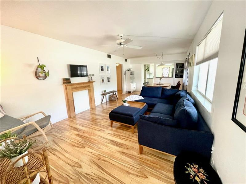 Additional sitting space in living room offers a large and spacious main living area
