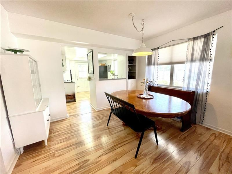 Large dining room opens into kitchen