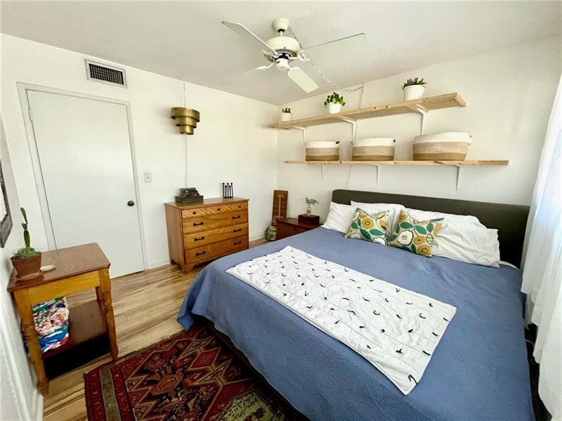 Overhead ceiling fan in bedroom