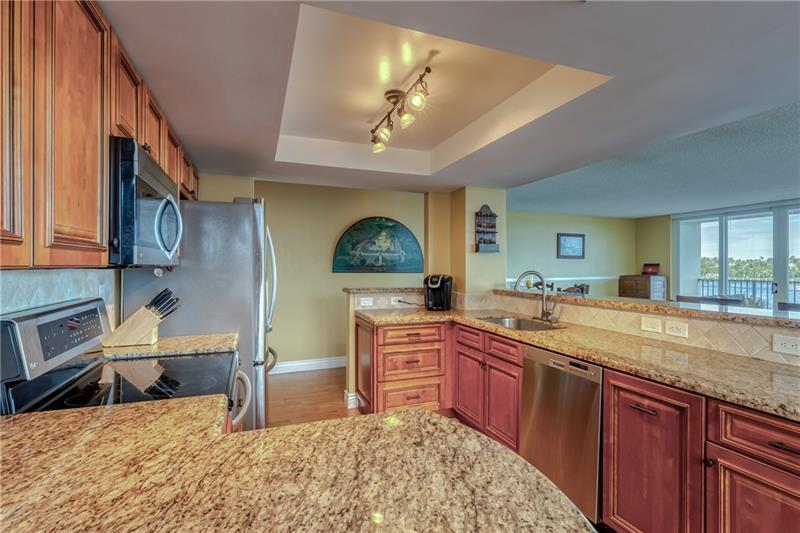Gorgeous water views as you work and entertain in kitchen