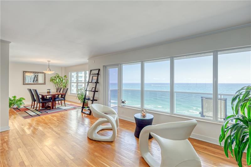 """Sought after """"wing"""" unit (direct ocean and city/Intracoastal views).  This 1800 sq. ft. residence is located in one of the Galt Ocean Mile premier buildings. Unit is renovated with crown molding, designer kitchen, granite, stainless steel appliances, and """"real"""" solid oak hardwood floors.  Semi-private elevator, heated pool, two exercise rooms, two card rooms, and direct ocean access.  Lobby and common areas recently remodeled.  If you love the beach life, this one's for you!"""