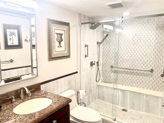 1 of 2 master baths.  Completely remodeled with walk-in shower and dual sinks.
