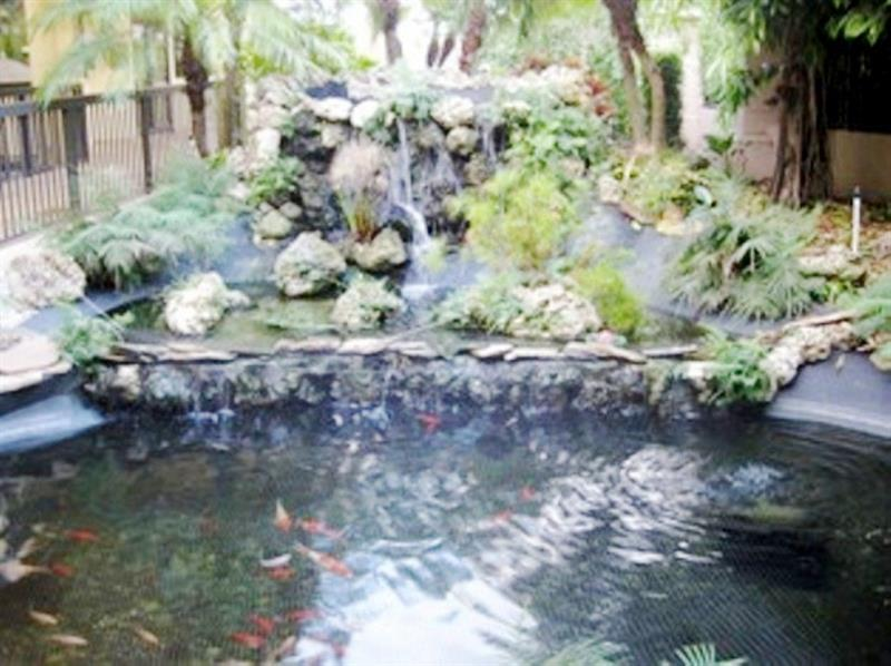 Be greeted by the Voyager Entryway Koi pond.