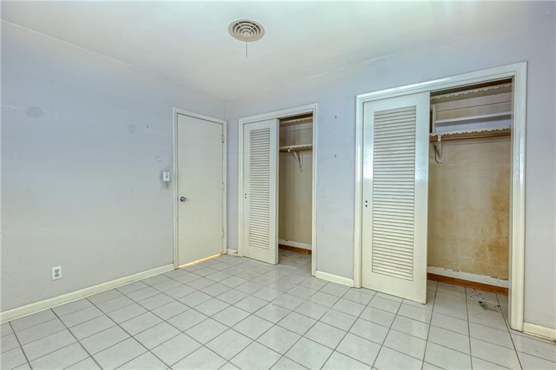 Double closets in second bedroom